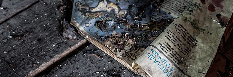 Old burned newspaper